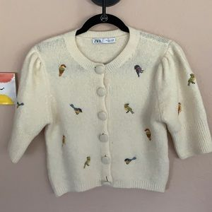 Zara Embroidered Bird Sweater